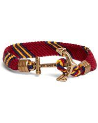 Brooks Brothers Kiel James Patrick Burgundy Hitch Knot Braided Bracelet - Red