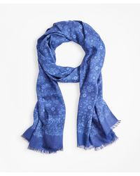 Brooks Brothers Floral Motif Scarf - Blue