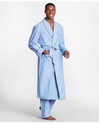Brooks Brothers Stripe Robe - Blue