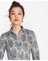 99f2da370e12dd Brooks Brothers - Petite Tailored-fit Mimosa Floral-print Cotton Sateen  Shirt - Lyst