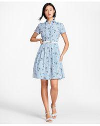 Brooks Brothers - Floral-print Striped Cotton Poplin Shirt Dress - Lyst
