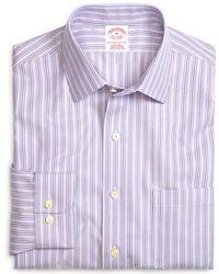 Brooks Brothers - Supima® Cotton Non-iron Regular Fit Lavender Stripe Twill Sport Shirt - Lyst