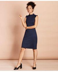 Brooks Brothers Ruffle-trimmed Stretch Wool Sheath Dress - Blue