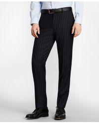 Brooks Brothers Brooksgatetm Milano-fit Bead-stripe Wool Twill Suit Pants - Blue