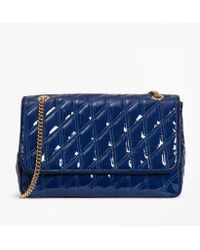 Brooks Brothers Quilted Patent Leather Convertible Cross-body Bag - Blue