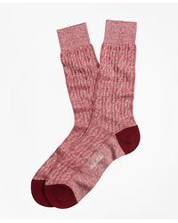 Brooks Brothers Marled Cable Crew Socks - Red