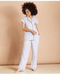 Brooks Brothers Striped Supima Cotton Poplin Pajamas - Blue