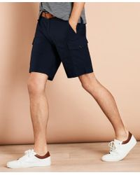 Brooks Brothers Cotton Ripstop Cargo Shorts - Blue