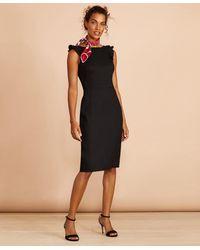 Brooks Brothers Linen-blend Twill Sheath Dress - Black