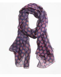 Brooks Brothers - Foulard-print Silk Chiffon Oblong Scarf - Lyst