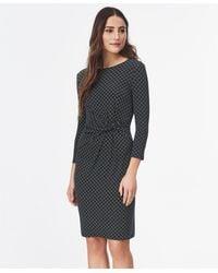 Brooks Brothers Geometric-print Ruched Jersey Dress - Blue