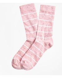 Brooks Brothers - Marled-stripe Stretch Cotton-silk Socks - Lyst