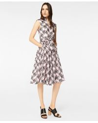 Brooks Brothers - Floral-embroidered Striped Cotton-silk Jacquard Dress - Lyst