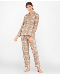 Brooks Brothers Floral-print Supima Cotton Poplin Pajama Set - Brown