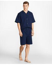 Brooks Brothers Seersucker Tonal Stripe Short Pajamas - Blue