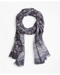 Brooks Brothers Floral Motif Scarf - Gray