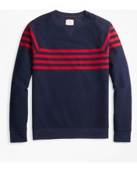 Brooks Brothers - Striped French Terry Crewneck Sweatshirt - Lyst