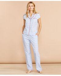Brooks Brothers Anchor-print Striped Cotton Pajamas - Blue