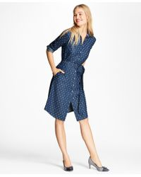 Brooks Brothers - Anchor-print Denim Shirt Dress - Lyst