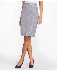 Brooks Brothers Floral Jacquard Pencil Skirt - Blue
