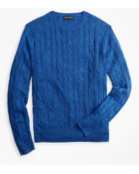 Brooks Brothers - Linen Cable Crewneck Sweater - Lyst