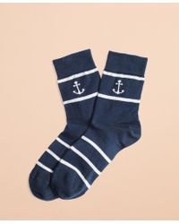 Brooks Brothers Anchor & Stripe Cotton-blend Socks - Blue