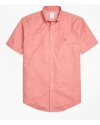 Brooks Brothers - Non-iron Madison Fit Heathered Oxford Short-sleeve Sport Shirt - Lyst