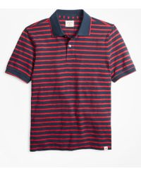 Brooks Brothers Striped Cotton Slub Jersey Polo Shirt - Blue