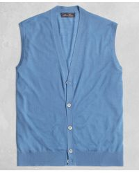 Brooks Brothers - Golden Fleece® 3-d Knit Fine Gauge Button Vest Sweater - Lyst