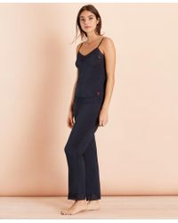 Brooks Brothers Lace-trimmed Jersey Camisole Pajama Set - Blue