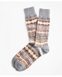Brooks Brothers Fair Isle Crew Socks - Gray