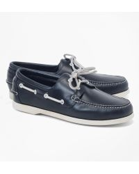 Brooks Brothers Leather Boat Shoes - Blue