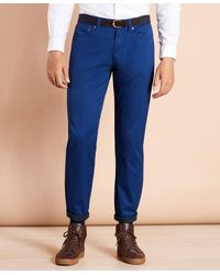 Brooks Brothers Five-pocket Flannel-lined Chinos - Blue
