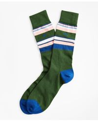 Brooks Brothers Multi-stripe Crew Socks - Green