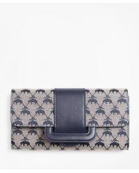 Brooks Brothers Leather-trimmed Logo Jacquard Envelope-flap Wallet - Blue