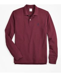 Brooks Brothers Slim Fit Supima Long-sleeve Performance Polo Shirt - Red