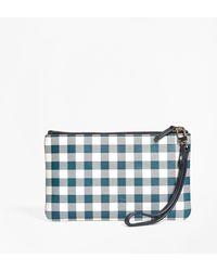 Brooks Brothers - Gingham Leather Wristlet - Lyst