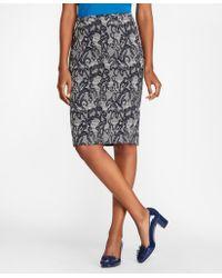 Brooks Brothers Floral Glen Plaid Jacquard Pencil Skirt - Black