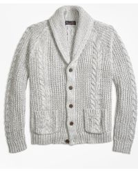 Brooks Brothers - Cable Knit Shawl Collar Cardigan - Lyst