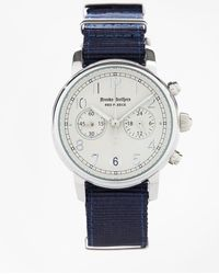Brooks Brothers - Round White Face Watch With Nylon Band - Lyst