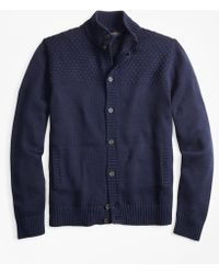 Brooks Brothers - Textured Button-front Mockneck Cardigan - Lyst