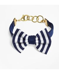 Brooks Brothers - Kiel James Patrick Navy And White Stripe Bow Tie Bracelet - Lyst