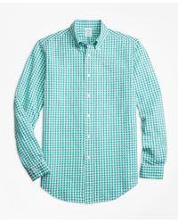 Brooks Brothers - Slim Fit Green Check Seersucker Sport Shirt - Lyst