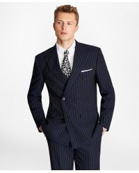 Brooks Brothers Regent Fit Double-breasted Pinstripe 1818 Suit - Blue