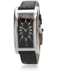Brooks Brothers Ladies' Rectangular Alligator Watch - Black