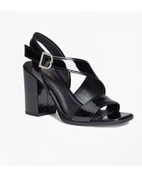 cb5b2255413 Brooks Brothers - Patent Leather Open-toe Stacked Sandals - Lyst