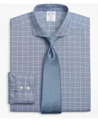 Brooks Brothers - Stretch Regent Fitted Dress Shirt, Non-iron Royal Oxford Glen Plaid - Lyst