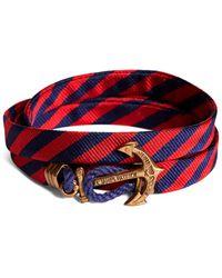 Brooks Brothers Kiel James Patrick Navy And Red Bb#5 Stripe Wrap Bracelet - Blue