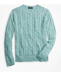 bd9be41083a Linen Cable Crewneck Sweater - Blue