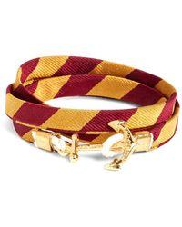 Brooks Brothers Kiel James Patrick Gold And Burgundy Bb#4 Stripe Wrap Bracelet - Metallic